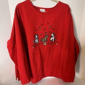 Fashion Bug Holiday Cat Sweatshirt 22/24
